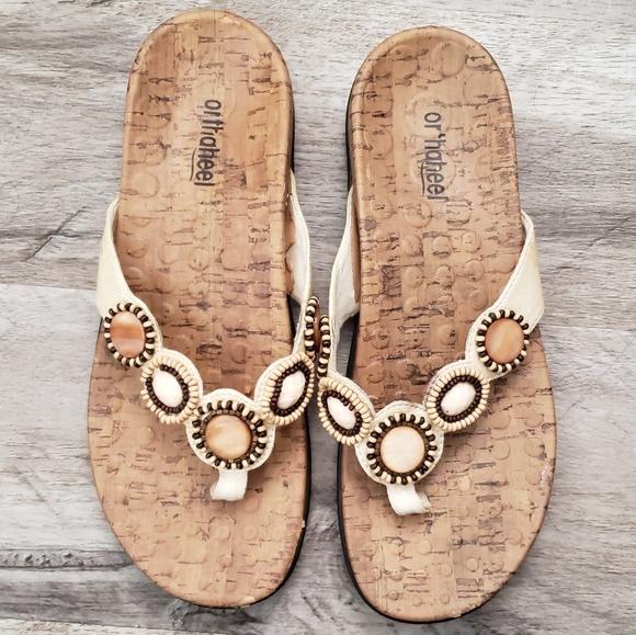 orthaheel Shoes - Orthaheel Sandals Slip On Thong Flip Flop Beaded
